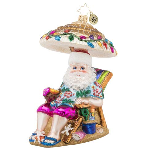 Christopher Radko Relaxing by The Beach Christmas Ornament, Pink, White