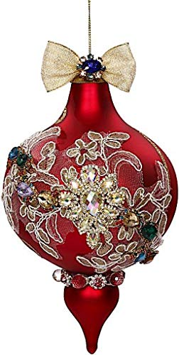 Mark Roberts Kings Jewels Ornaments Vintage Floral Jewel Red Finial Ornament 7.5 Inch, 1 Each