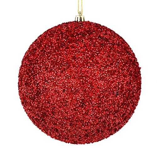 Vickerman 531297-4″ Red Beaded Ball Christmas Tree Ornament (6 pack) (N185603D)