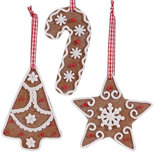 Raz Imports 4″ Gingerbread Cookie Ornament Set