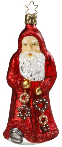 Inge-Glas Santa Gingerbread Gifts 1-048-10 German Glass Christmas Ornament