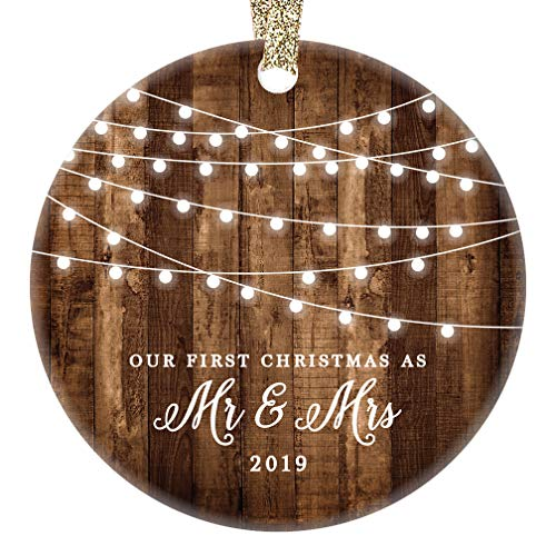 First Christmas as Mr & Mrs Ornament 2019 Rustic 1st Year Married Newlyweds 3″ Flat Circle Porcelain Ceramic Ornament w Glossy Glaze, Gold Ribbon & Free Gift Box   OR00300 Delfino