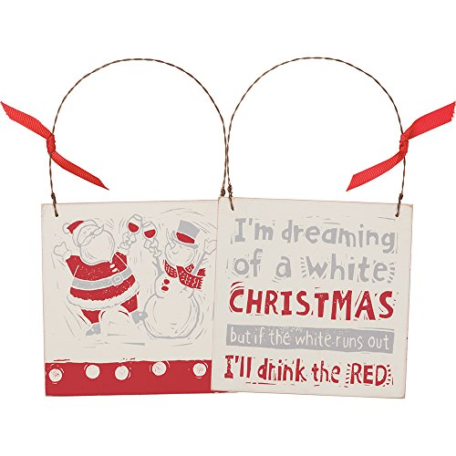 Primitives By Kathy 4.50 Inches Square Christmas Ornament With Ribon – I'll Drink The Red