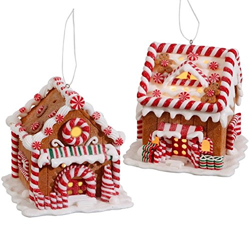 RAZ Imports 5″ Lighted Gingerbread House Ornament Set