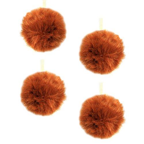 Holiday Lane Faux-Fur 4-inch Pom-Pom Christmas Ornaments, Fox Orange/Brown (Set of 4)