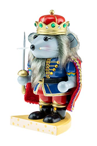 Clever Creations Chubby Wood Mouse King Nutcracker | Blue and Gold Jacket Outfit, Sword, and Cheese Stand | Traditional Festive Christmas Decor | 7.5″ Tall Perfect for Shelves and Tables | 100% Wood