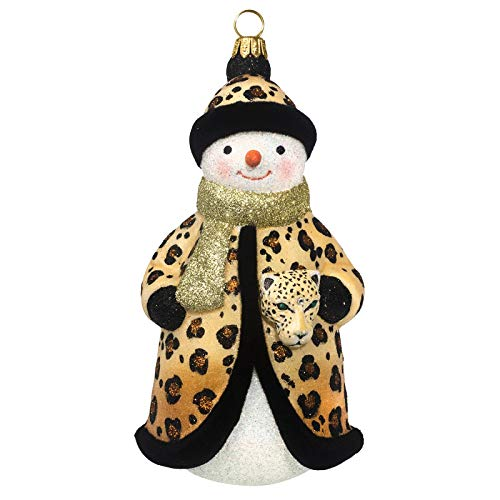 Joy to the World Collectibles Glitterazzi Leopard Snowman Polish Glass Christmas Ornament