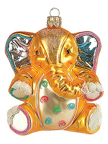 Pinnacle Peak Trading Company Stuffed Elephant Toy Polish Blown Glass Christmas Ornament Tree Decoration