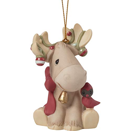Precious Moments Moose Wonderful Time of The Year 1st Annual Animal Bisque Porcelain 191018 Ornament, One Size, Multi