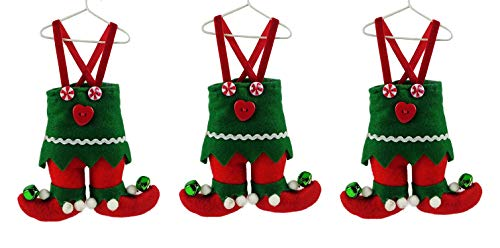 Party Explosions North Pole Elf Suit on Hanger Fabric Christmas Ornament – Set of 3