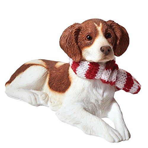 Sandicast Orange Brittany with Red and White Scarf Christmas Ornament