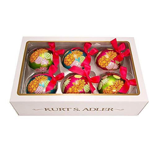 Kurt Adler Set of 6 Pineapple Ball Ornaments