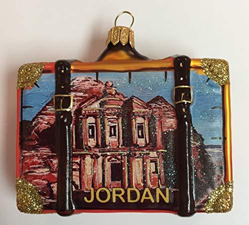Pinnacle Peak Trading Company Petra Jordan Travel Suitcase Polish Glass Christmas Ornament ONE Tree Decoration