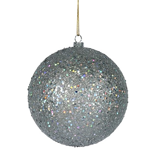 Vickerman 35058 – 6″ Silver Sequin Ball Christmas Tree Ornament (4 pack) (N591507DQ)