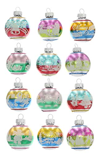 Christopher Radko Christmas Ornaments Confetti 1.75″ 12 Piece Signature Flocked