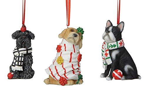 Creative Co-op Mischievous Puppy Dogs Holiday Ornaments – Set of 3