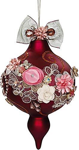 Mark Roberts Kings Jewels Ornaments Vintage Floral Jewel Burgundy Finial Ornament 7.5 Inch, 1 Each