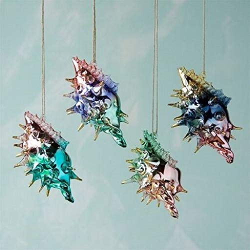 180 Degrees EL0173 Spiny Shiny Sea Shell Glass Christmas Ornament Ocean Nautical Beach Shore