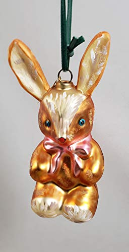 Glitterville Bunny Rabbit with Pink Bow Glass Ornament by Nathalie LÉTÉ Easter