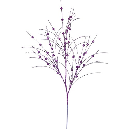 Vickerman QG164206 Glitter Berry Spray with Paper Wrapped Wire Stem in 6/Bag, 35″, Purple