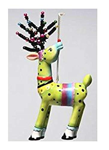 Appletree Design Reindeer Ornament in Red or Green, Green