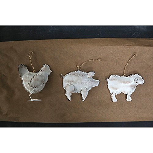 Creative Co-op Set of 3 Distressed Metal Farm Animal Ornaments