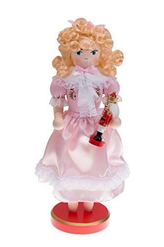 Clever Creations Pink Princess Clara Nutcracker Suite Holding Small Christmas Nutcracker | Festive Christmas Decor | Unique Addition to Any Collection | 100% Wood | 14″ Tall…