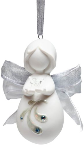 Appletree Design Inspirations from Above Ribbon Angel with Dove Ornament, 3-Inch Tall, Includes String for Hanging