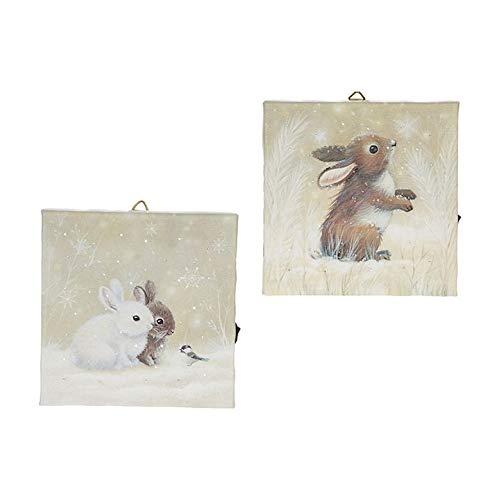 Raz Imports 6″ Winter Bunny Rabbits Lighted Print Ornament Set