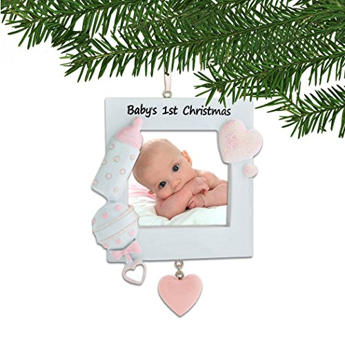 Personalized Baby's 1st Christmas Pink Photo Frame Tree Ornament 2019 – Heart Bottle Rattle Girl's New Mom Shower Picture Display Milestone Memory Grand-Daughter Gift Year – Free Customization