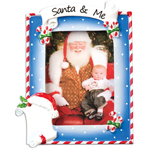 Personalized Santa and Me Picture Frame Christmas Tree Ornament 2019 – Generic Photo Display Candy Cane Present Milestone Memory Baby First Visit Grand-Kid Child List Gift Year – Free Customization