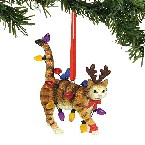 Department 56 Gary Patterson Cat in Lights Hanging Ornament, 2.75″, Multicolor