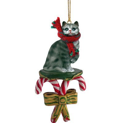 Conversation Concepts Silver Shorthaired Tabby Cat Candy Cane Ornament