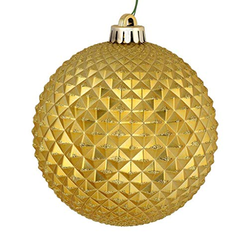 Vickerman 530238-4″ Gold Durian Glitter Ball Christmas Tree Ornament (6 pack) (N188508D)