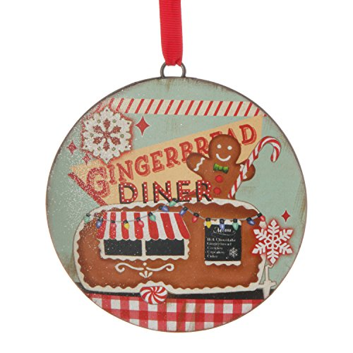 Iron 6 Inch Vintage Gingerbread Diner Disc Ornament