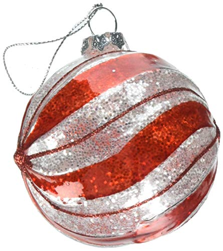 "Department 56 Snowbabies ""Red & White Striped Ball"" Glass Ornament, 3.25″"