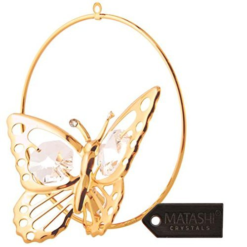 Matashi Gold Butterfly Ornament Clear Crystals