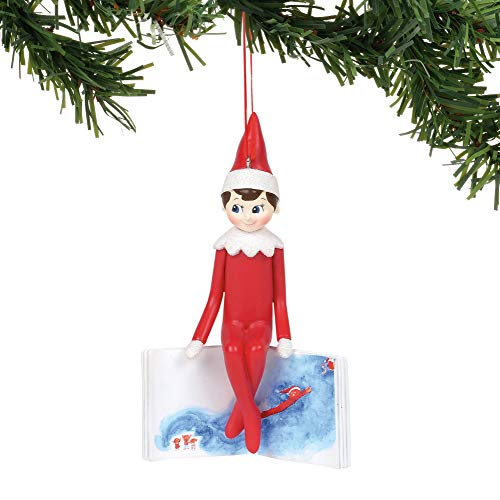 Department 56 Elf On The Shelf Sitting On Book, 4.5″ Hanging Ornament, Multicolor