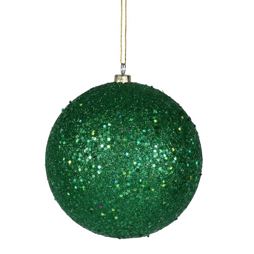 Vickerman Sequin Finish Christmas Ball Ornament Seamless Shatterproof with Drilled Cap, 4 per Bag, 6″, Green