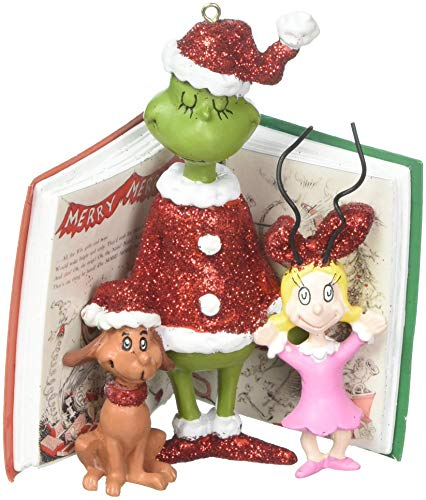 Department 56 Grinch, Cindy and Max Book Hanging Ornament, 4″, Multicolor