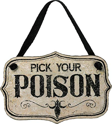 Primitives by Kathy PBK Halloween Decor – Pick You Poison Small Sign Ornament