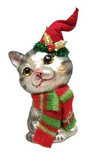 December Diamonds Blown Glass Ornament – Grey Tabby with Stocking Hat