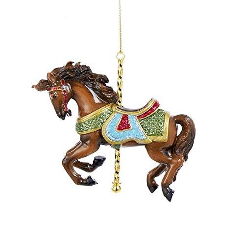 Kurt Adler Tan and Green Horse Carousel Ornament