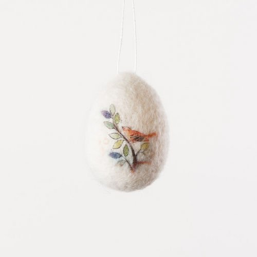 One Hundred 80 Degrees Wool Egg Ornament with Cardinal, Set of 8