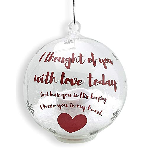 BANBERRY DESIGNS in Loving Memory Ornament – LED Glass Ball Ornament with Candle – Light Up Memorial Keepsake – I Thought of You with Love Today