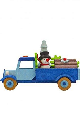 Alexander Taron 4782 Graupner Ornament – Truck with Snowman and Tree – 2″ H x 3″ W x 1.5″ D Blue