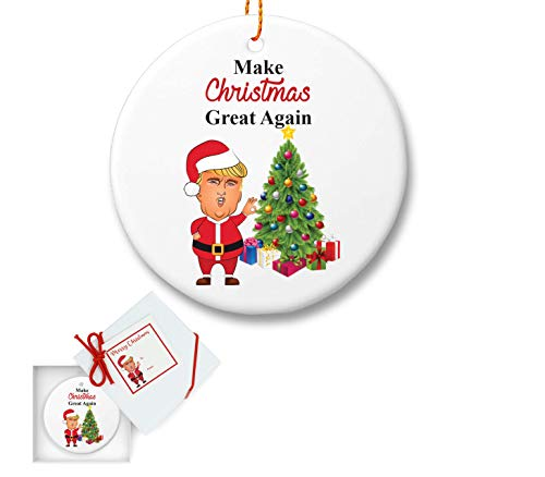 President Trump Christmas Ceramic Tree Ornament – Make Christmas Great Again – Gifts for Dad Mom Men Women Husband – Holidays Presents Keepsake Hallmark Collectible Conservative Gift Ideas 2018 –