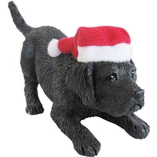 Sandicast Black Labrador Retriever with Santa Hat Christmas Ornament by Sandicast