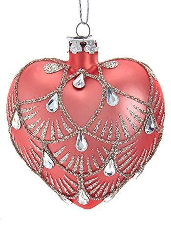 Kurt Adler Kurt S. Adler 3.15″ Noble Gems Dark Pink Glass Heart with Swarovski Crystal Ornament