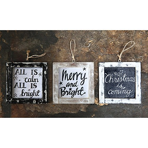 Creative Co-op Set of 3 Wood Framed Holiday Saying Ornaments